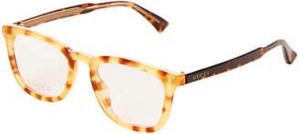 Gucci GG 0126O Tortoiseshell-Look Rectangular Optical Frames