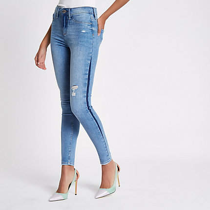 Womens Mid Blue Molly shadow side jeggings