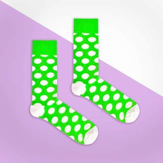 Bryt Green And White Polka Dot Sock
