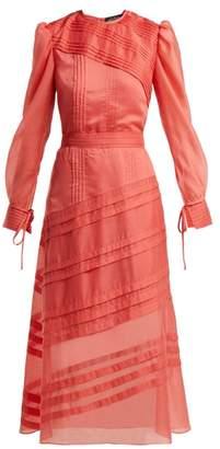 Anna October - Pintuck Long Sleeved Midi Dress - Womens - Red