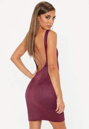 Missguided Burgundy Faux Suede Scoop Back Bodycon Dress