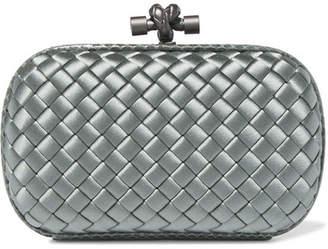 Bottega Veneta - The Knot Watersnake-trimmed Intrecciato Satin Clutch - Gray green $1,580 thestylecure.com