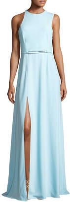 Halston Drape Back Crepe Gown