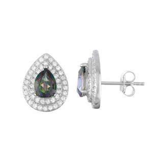 FINE JEWELRY Genuine Green Mystic Fire Topaz Sterling Silver 12mm Pear Stud Earrings