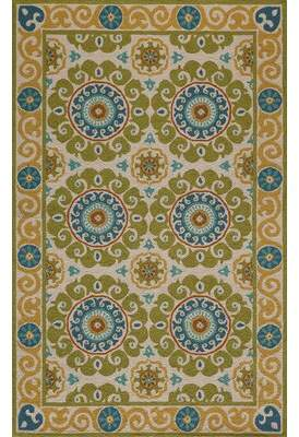 Bungalow Rose Roeser Hand-Hooked Wool Lime Area Rug