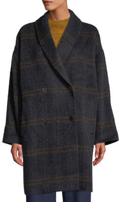 Eileen Fisher Windowpane Luxe Alpaca Car Coat, Plus Size