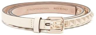 Valentino Rockstud Leather Belt - Womens - Ivory