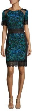 Tadashi Shoji Short Sleeve Lace Cocktail Dress $390 thestylecure.com