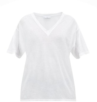 Raey - V Neck Cotton Jersey T Shirt - Womens - White