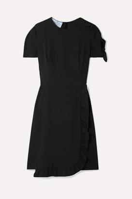 Prada Wrap-effect Ruffled Crepe Mini Dress - Black