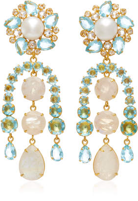 Bounkit 14K Gold-Plated Pearl Blue Quartz and Moonstone Earrings