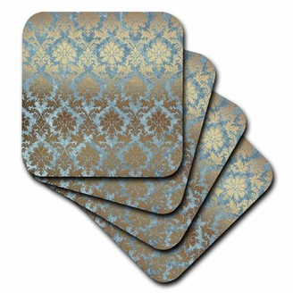 3dRose Pretty Faux Foil Blue and Gold Damask - Soft Coasters, set of 4