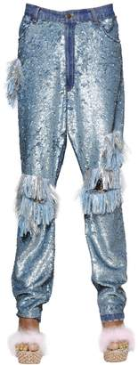 Ashish Sequined & Fringed Cotton Pants