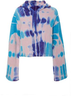 The Elder Statesman M'O Exclusive Cropped Tie-Dye Cashmere Hooded Sweatshirt