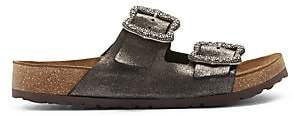 Marc Jacobs Women's Grunge Two-Strap Glitter Leather Sandals