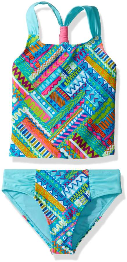 Vigoss Big Girls' Venice Beach Two Piece Color Block Tankini Swimsuit