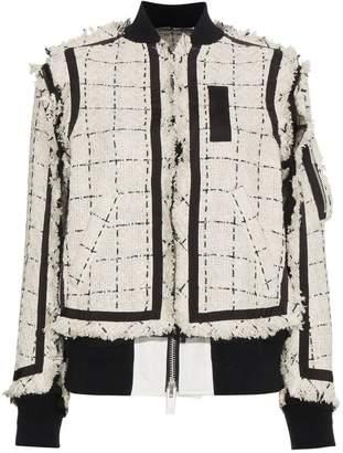 Sacai check tweed bomber jacket