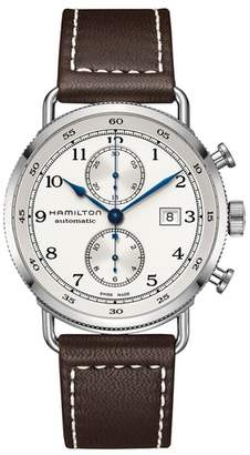 Hamilton Khaki Navy Automatic Chronograph Leather Strap Watch, 44mm