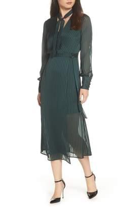 Bardot Shadow Stripe Faux Wrap Midi Dress