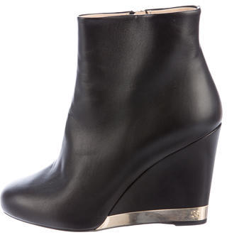 ChanelChanel Leather Wedge Ankle Boots