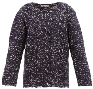 Jacquemus Berger Cable Knit Wool Sweater - Mens - Navy