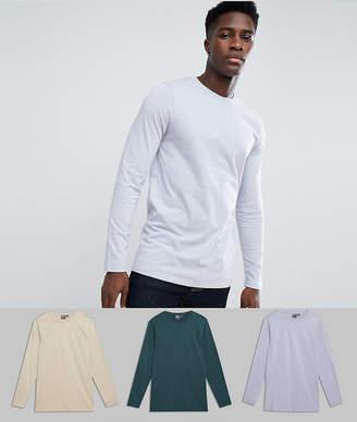 Asos DESIGN 3 pack long sleeve longline crew neck t-shirt SAVE