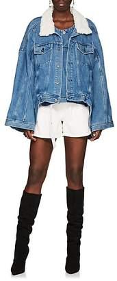 Y/Project Women's Oversized Shearling-Trimmed Denim Jacket