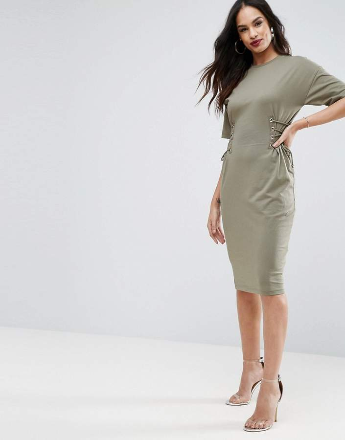 AsosASOS Midi T-Shirt Dress with Corset Detail