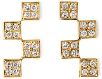 Established Short Diamond Checker Stud Earrings