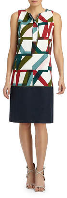 Lafayette 148 New York Abstract Geo Print Shift Dress