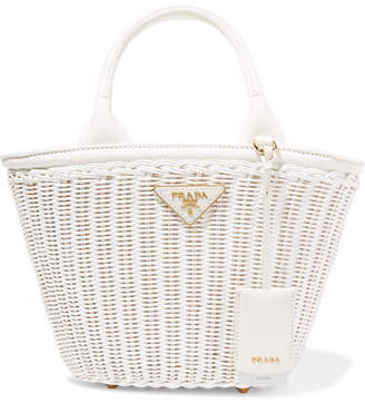 111d046d3cd3 Prada Giardiniera Canvas-trimmed Wicker Tote - White
