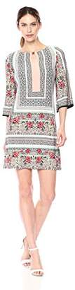 Sandra Darren Women's 1 PC 3/4 Bell Sleeve Printed Key Hole Jersey Shift Dress