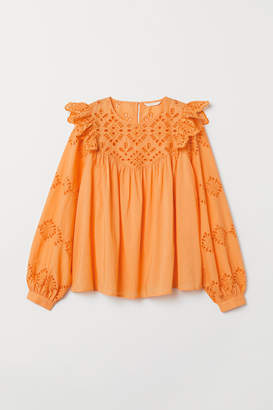 H&M Blouse with Cutwork Embroidery - Orange