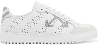 Off-White - Perforated Printed Leather Sneakers - IT39 $555 thestylecure.com