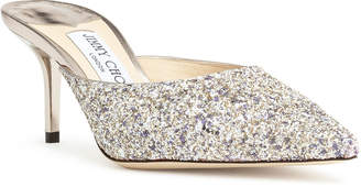 Jimmy Choo Coarse glitter fabric mules