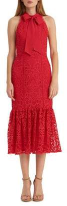 ML Monique Lhuillier Lace Fit-&-Flare Halter Dress
