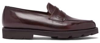 John Lobb Lopez Penny Strap Leather Loafers - Mens - Burgundy