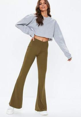 Missguided Khaki Ribbed Flare Trousers