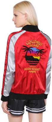 Gcds Coconut Embroidered Satin Bomber Jacket