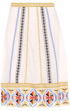 Tory Burch Adriana embroidered cotton skirt