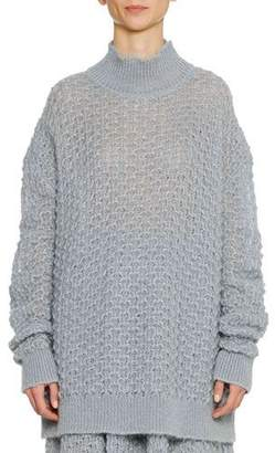 Jil Sander Turtleneck Long-Sleeve Open-Weave Oversized Mohair-Silk Sweater