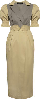 Anna October Lady Colorblocked Wrap-Effect Belted Blazer Dress