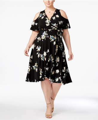 Soprano Trendy Plus Size Floral-Print Cold-Shoulder Dress $79 thestylecure.com