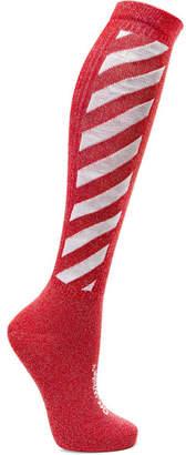 Off-White Metallic Intarsia Cotton-blend Socks - Red
