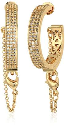 Eddie Borgo Pave Safety Chain Gold Plated Brass Hoop Earrings