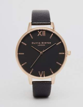 Olivia Burton OB15BD66 big dial leather watch in black & rose gold