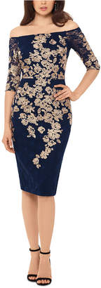 Xscape Evenings Off-The-Shoulder Gold-Embroidered Dress