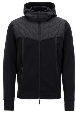 BOSS Hugo Zippered sweatshirt quilted panel & detachable hood L Black
