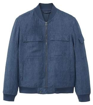 MANGO Pockets linen bomber jacket