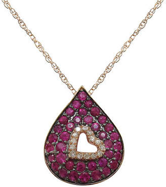 Tag Heuer FINE JEWELLERY 14K Rose Gold Diamond and Ruby Teardrop Necklace